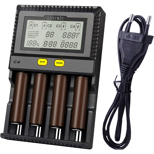The DaVinci Battery Charger can charge two batteries at the same time.